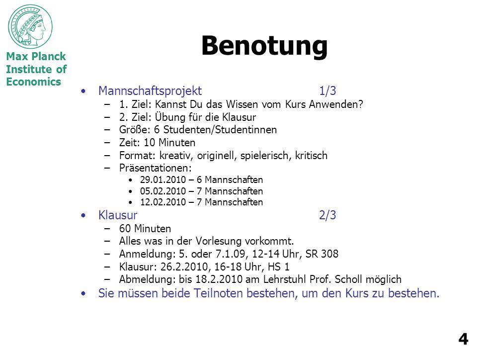 Max Planck Institute of Economics 5 Kurs-Logistik Bewertung des Mannschaftsprojekts –SIEHE BEWERTUNGSBOGEN.