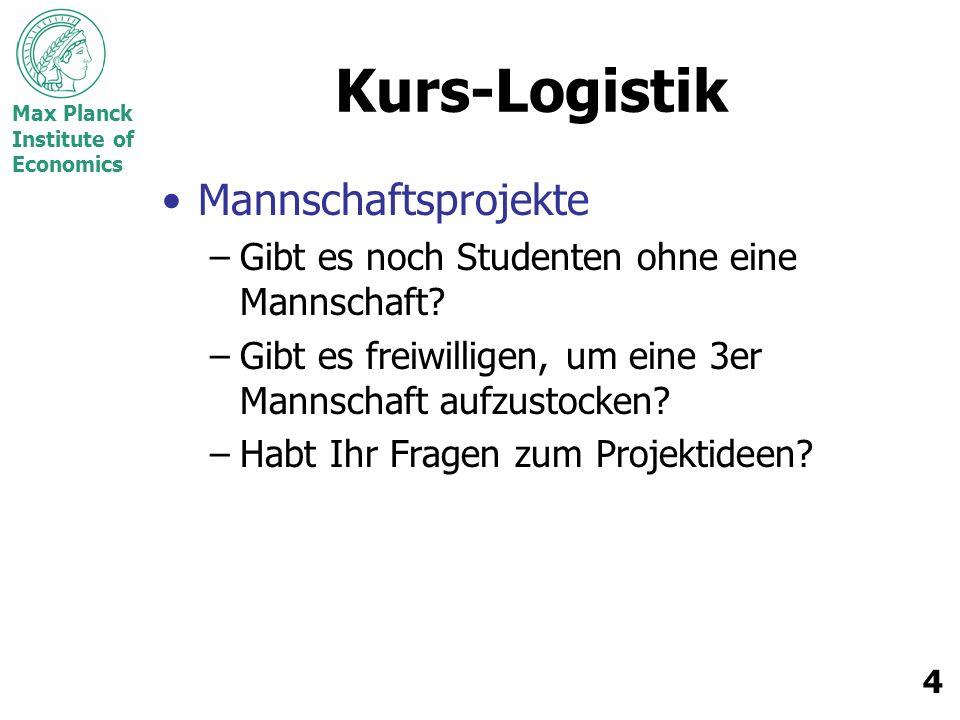 Max Planck Institute of Economics 4 Kurs-Logistik Mannschaftsprojekte –Gibt es noch Studenten ohne eine Mannschaft.