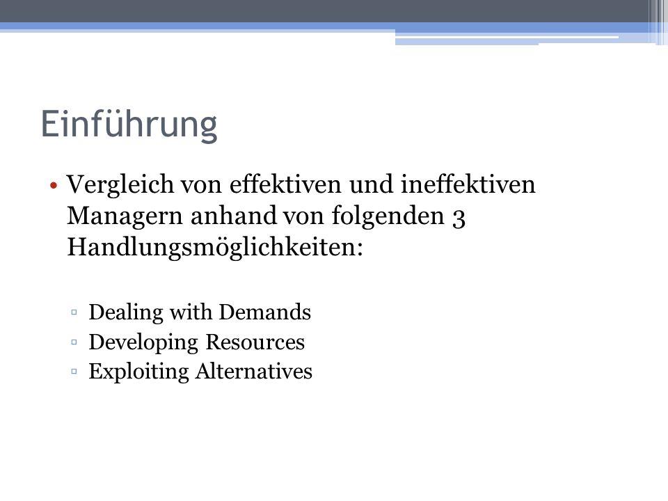 Einführung Vergleich von effektiven und ineffektiven Managern anhand von folgenden 3 Handlungsmöglichkeiten: Dealing with Demands Developing Resources Exploiting Alternatives