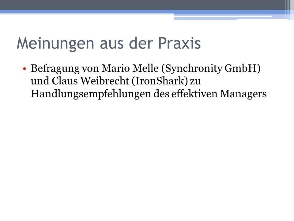 Meinungen aus der Praxis Befragung von Mario Melle (Synchronity GmbH) und Claus Weibrecht (IronShark) zu Handlungsempfehlungen des effektiven Managers