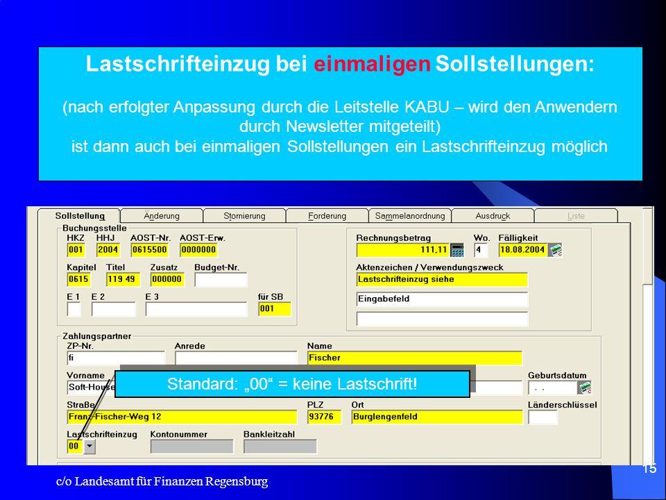 c/o Landesamt für Finanzen Regensburg 14 Übernahme der Kundennummer in die Auszahlungsmaske -Eine hinterlegte Kundennummer in der Zahlungspartner-Date