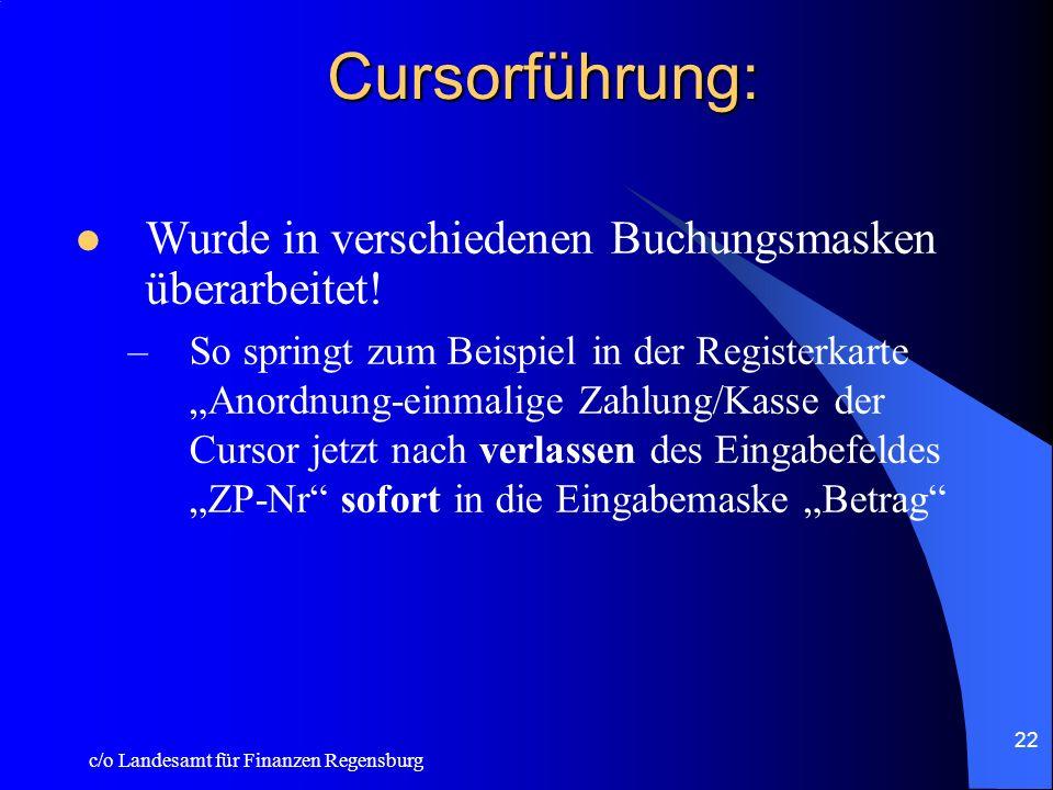 c/o Landesamt für Finanzen Regensburg 21 Aufrechnung mit Steuerforderung: Bei kassenwirksamen Auszahlungen kann eine 11stellige Steuernummer erfaßt we