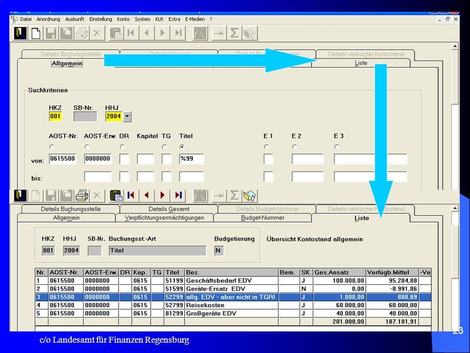 c/o Landesamt für Finanzen Regensburg 22 Cursorführung: Wurde in verschiedenen Buchungsmasken überarbeitet! –So springt zum Beispiel in der Registerka