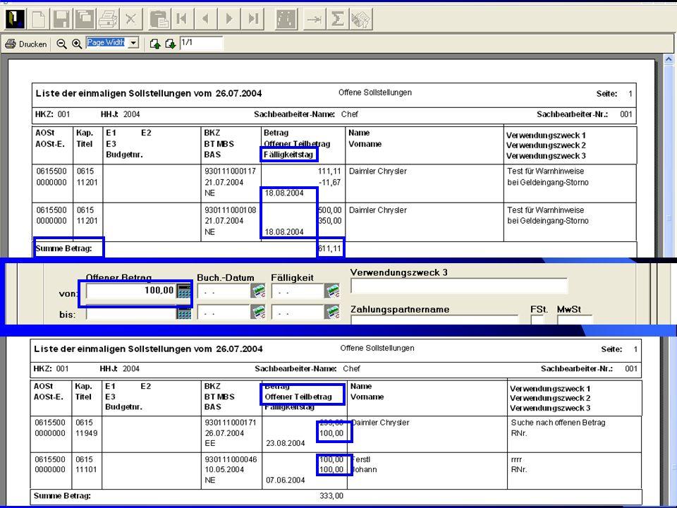 c/o Landesamt für Finanzen Regensburg 26 – Ebenso werden jetzt in der Liste alle 3 Verwendungszweck- felder angezeigt! Auskunft: Haushaltsüberwachungs
