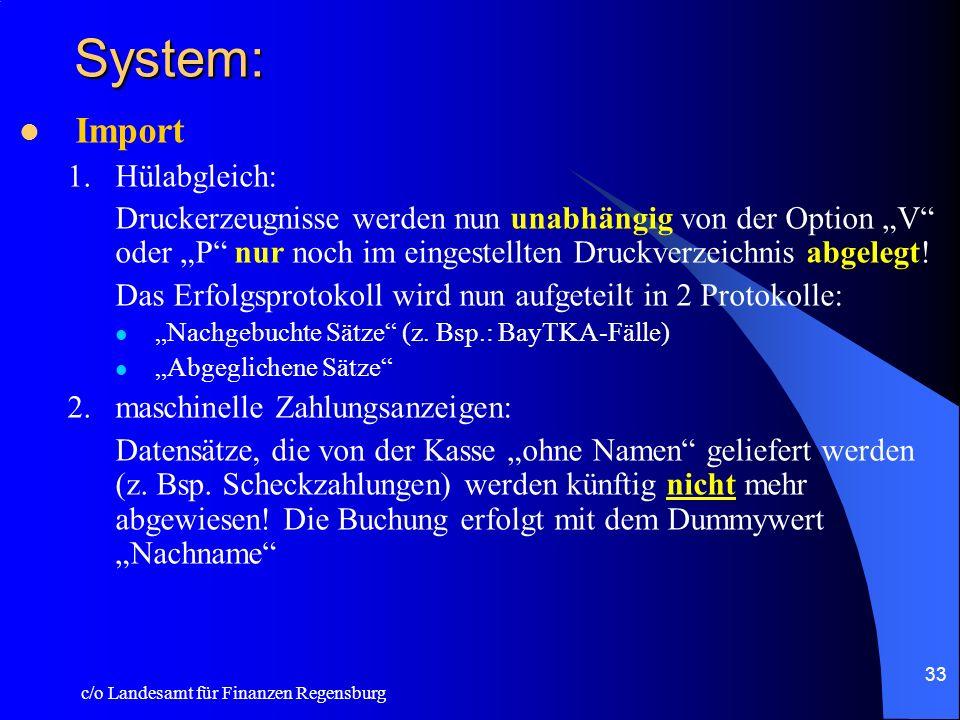 c/o Landesamt für Finanzen Regensburg 32 Konto: Mittelzuweisung: –Bei nicht budgetierten Titeln können künftig die Haushaltsmittel direkt auf den Tite