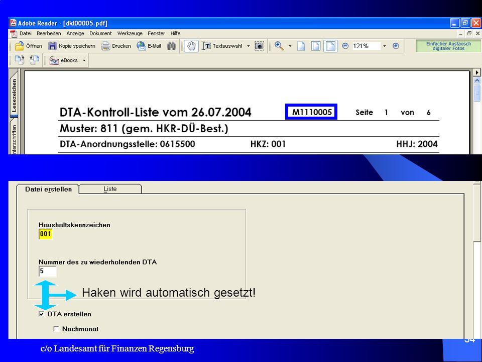 c/o Landesamt für Finanzen Regensburg 33 System: Import 1.Hülabgleich: Druckerzeugnisse werden nun unabhängig von der Option V oder P nur noch im eing