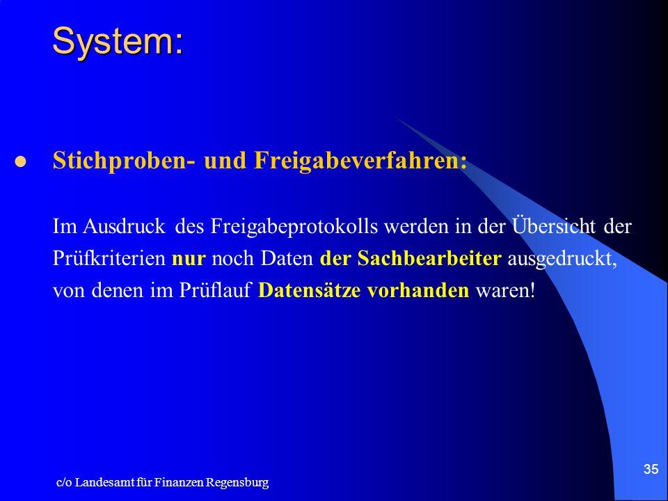 c/o Landesamt für Finanzen Regensburg 34 System: Export –In der DTA-Kontrolliste wird jetzt die DTA - Kennung und die laufende DTA - Nummer vermerkt –