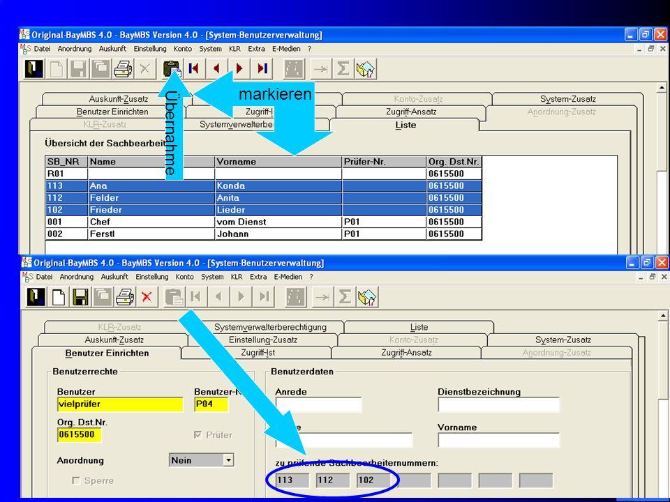 c/o Landesamt für Finanzen Regensburg 36 System: Benutzerverwaltung: Registerkarte Benutzer – Einrichten: – Neue Suchfelder: Benutzer, Name und Vornam