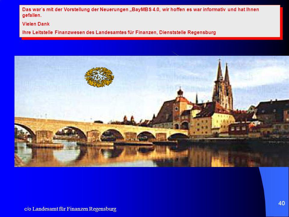 c/o Landesamt für Finanzen Regensburg 39 Mandantenfähigkeit – Änderungen/Ergänzungen: 1.Das globale Systemverwalterrecht (0000000-9999999) wurde ausge