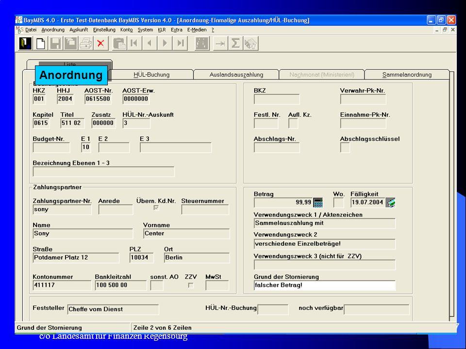 c/o Landesamt für Finanzen Regensburg 27 Auskunft: Offene Posten - Sollstellung: –Auf dem AUSDRUCK erscheint der Fälligkeitstag und die Gesamtsumme der Auswahl in der Betragsspalte.