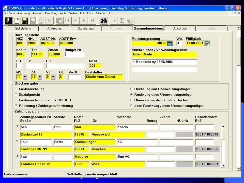 c/o Landesamt für Finanzen Regensburg 28 Ansatz: Liste: –Die Summe aus der Betragsspalte wird nunmehr auch auf dem Listenausdruck angezeigt.