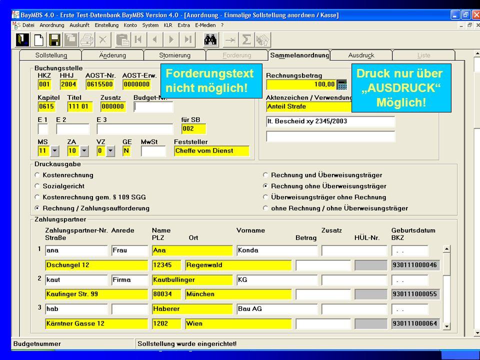 c/o Landesamt für Finanzen Regensburg 9 Besonderheit bei Sammelanordnungen von einmaligen Sollstellungen: Der Ausdruck kann nicht direkt aus der Sammelanordnungsmaske erfolgen Ausdruck erfolgt über Registerkarte A U S D R U C K !.