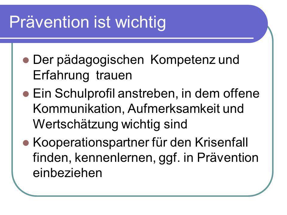 Prävention ist wichtig Der pädagogischen Kompetenz und Erfahrung trauen Ein Schulprofil anstreben, in dem offene Kommunikation, Aufmerksamkeit und Wer