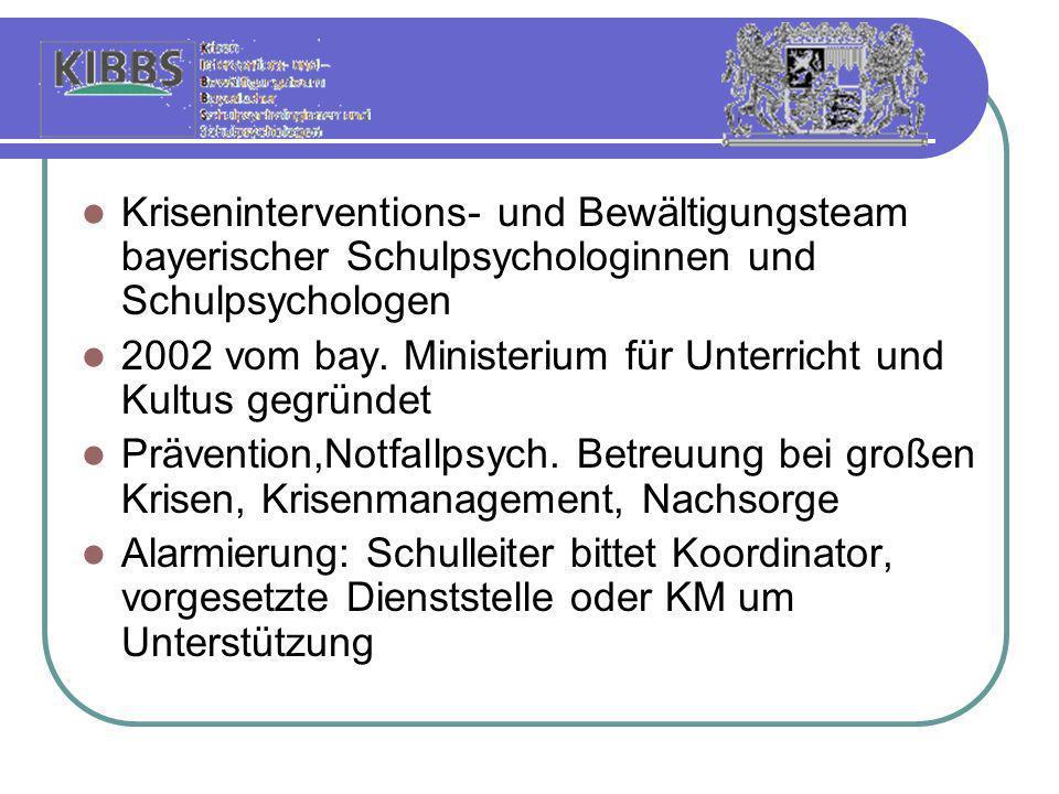 Kriseninterventions- und Bewältigungsteam bayerischer Schulpsychologinnen und Schulpsychologen 2002 vom bay. Ministerium für Unterricht und Kultus geg