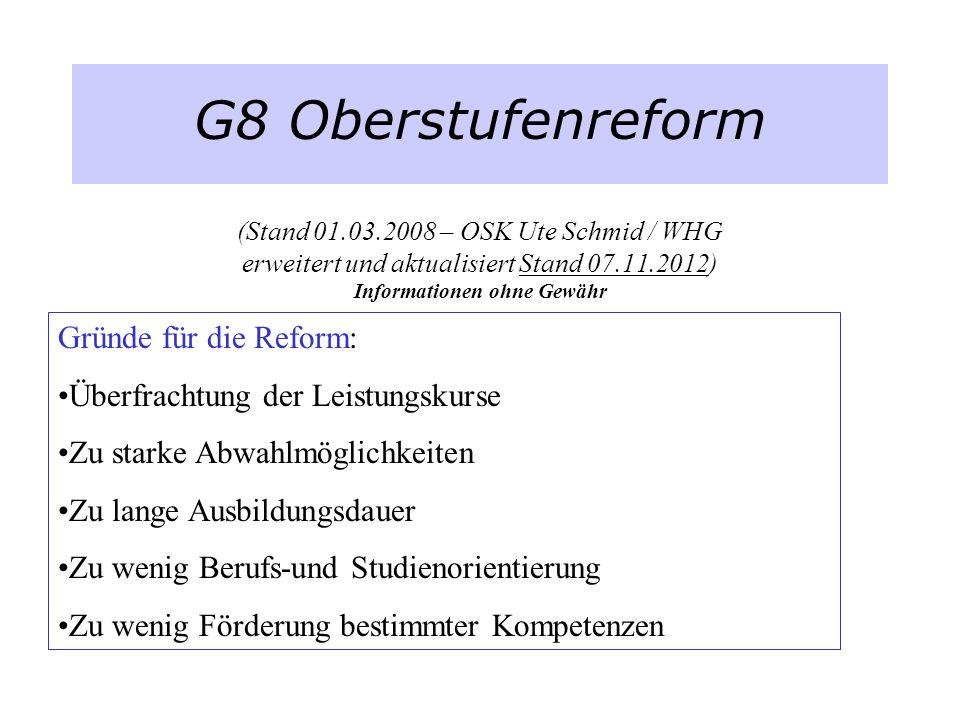 G8 Oberstufenreform (Stand 01.03.2008 – OSK Ute Schmid / WHG erweitert und aktualisiert Stand 07.11.2012) Informationen ohne Gewähr Gründe für die Ref