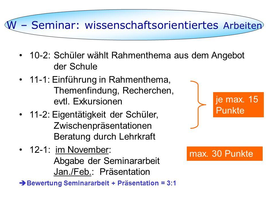 W – Seminar: wissenschaftsorientiertes Arbeiten 10-2:Schüler wählt Rahmenthema aus dem Angebot der Schule 11-1: Einführung in Rahmenthema, Themenfindu