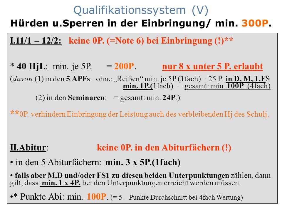 Qualifikationssystem (V) Hürden u.Sperren in der Einbringung/ min. 300P. I.11/1 – 12/2: keine 0P. (=Note 6) bei Einbringung (!)** * 40 HjL: min. je 5P