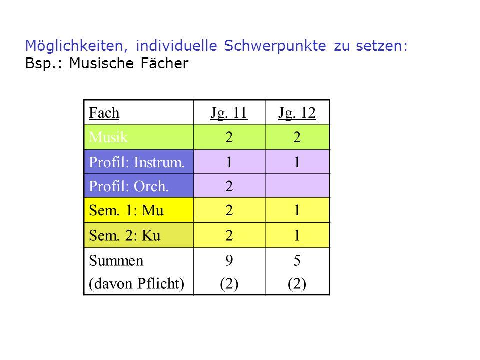 FachJg. 11Jg. 12 Musik22 Profil: Instrum.11 Profil: Orch.2 Sem. 1: Mu21 Sem. 2: Ku21 Summen (davon Pflicht) 9 (2) 5 (2) Möglichkeiten, individuelle Sc