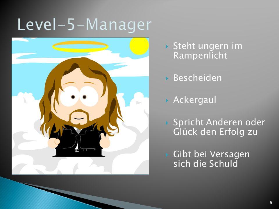 5 Level-5-Manager Steht ungern im Rampenlicht Bescheiden Ackergaul Spricht Anderen oder Glück den Erfolg zu Gibt bei Versagen sich die Schuld