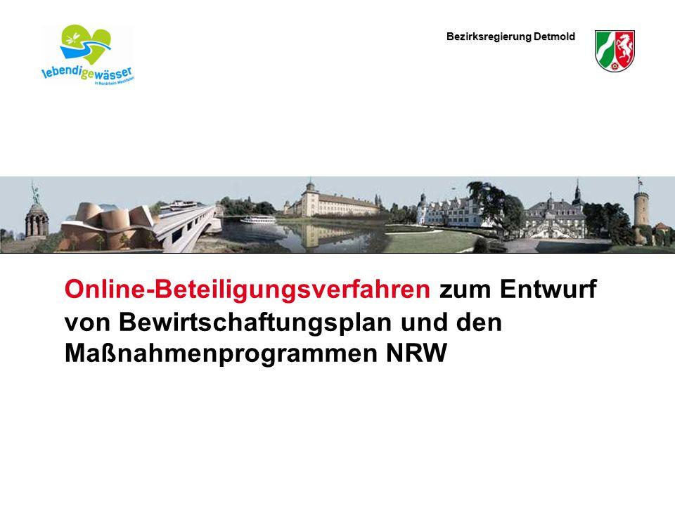 Bezirksregierung Detmold Hier könnte ein schmales Bild eingefügt werden Online-Beteiligungsverfahren zum Entwurf von Bewirtschaftungsplan und den Maßnahmenprogrammen NRW