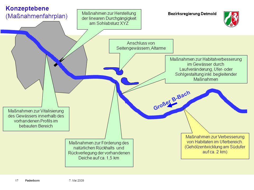Bezirksregierung Detmold Paderborn177. Mai 2009 Maßnahmen zur Vitalisierung des Gewässers innerhalb des vorhandenen Profils im bebauten Bereich Großer