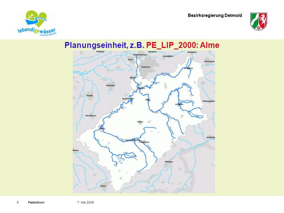 Bezirksregierung Detmold Paderborn57. Mai 2009 Planungseinheit, z.B. PE_LIP_2000: Alme