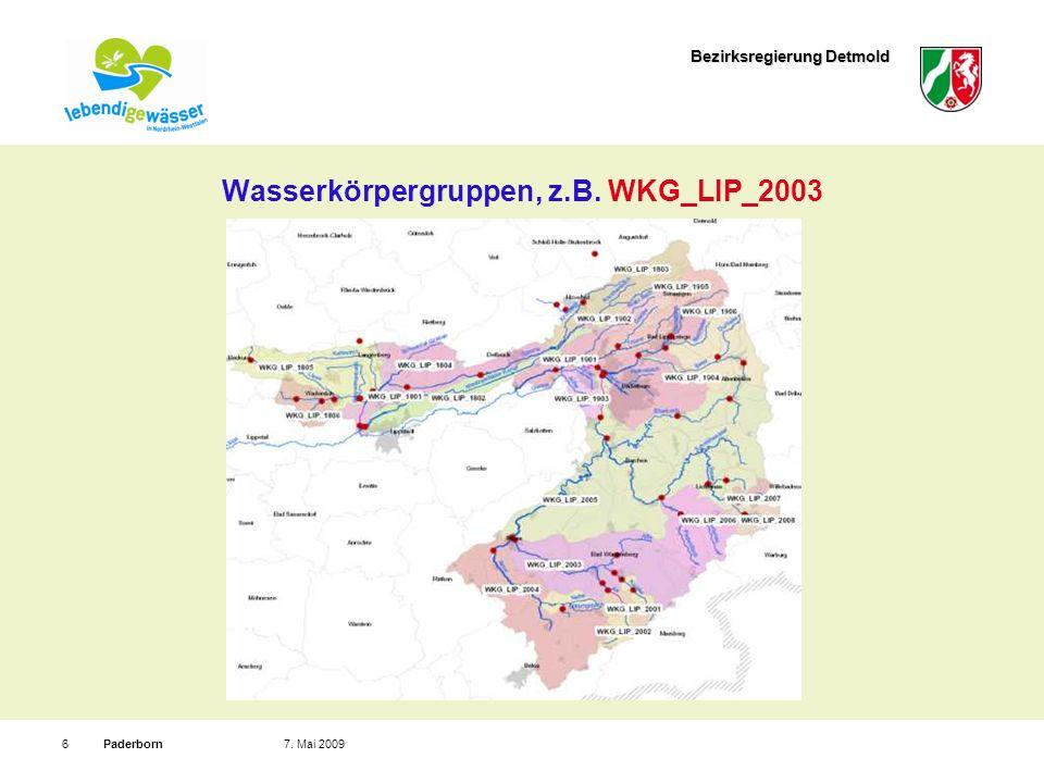 Bezirksregierung Detmold Paderborn77.Mai 2009 Wasserkörper, z.B.