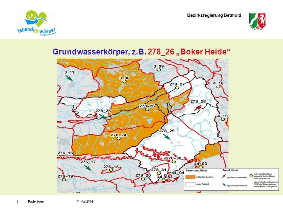 Bezirksregierung Detmold Paderborn87. Mai 2009 Grundwasserkörper, z.B. 278_26 Boker Heide