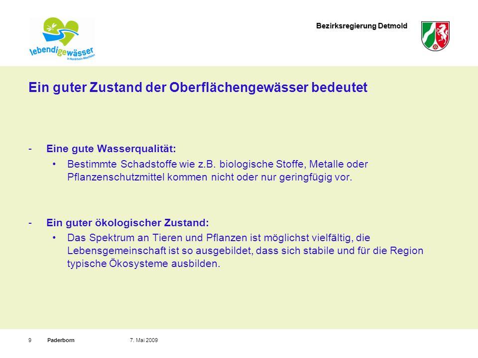 Bezirksregierung Detmold Paderborn97. Mai 2009 Ein guter Zustand der Oberflächengewässer bedeutet Eine gute Wasserqualität: Bestimmte Schadstoffe wie
