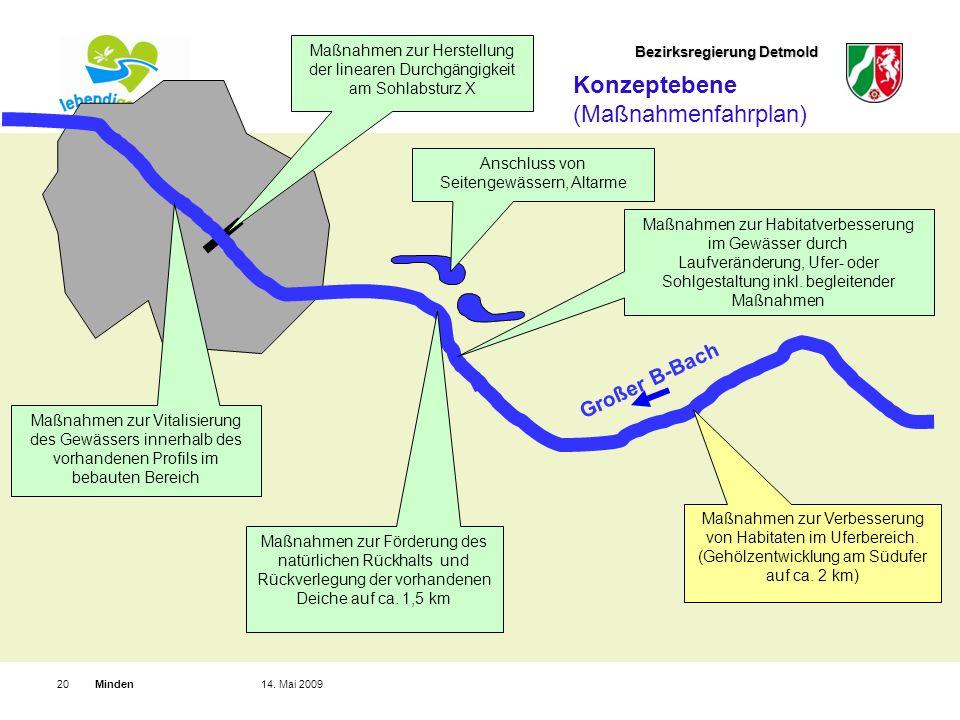 Bezirksregierung Detmold Minden2014. Mai 2009 Maßnahmen zur Vitalisierung des Gewässers innerhalb des vorhandenen Profils im bebauten Bereich Großer B