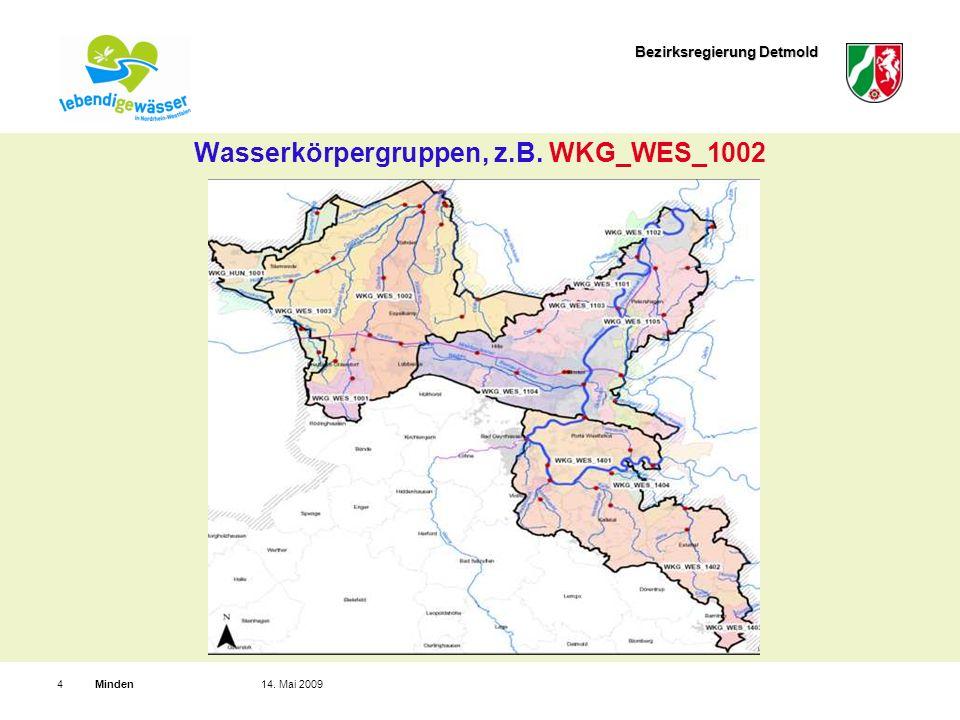 Bezirksregierung Detmold Minden414. Mai 2009 Wasserkörpergruppen, z.B. WKG_WES_1002