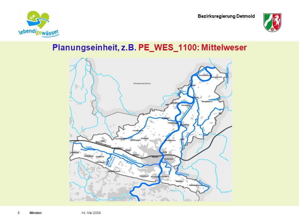 Bezirksregierung Detmold Minden514. Mai 2009 Planungseinheit, z.B. PE_WES_1100: Mittelweser