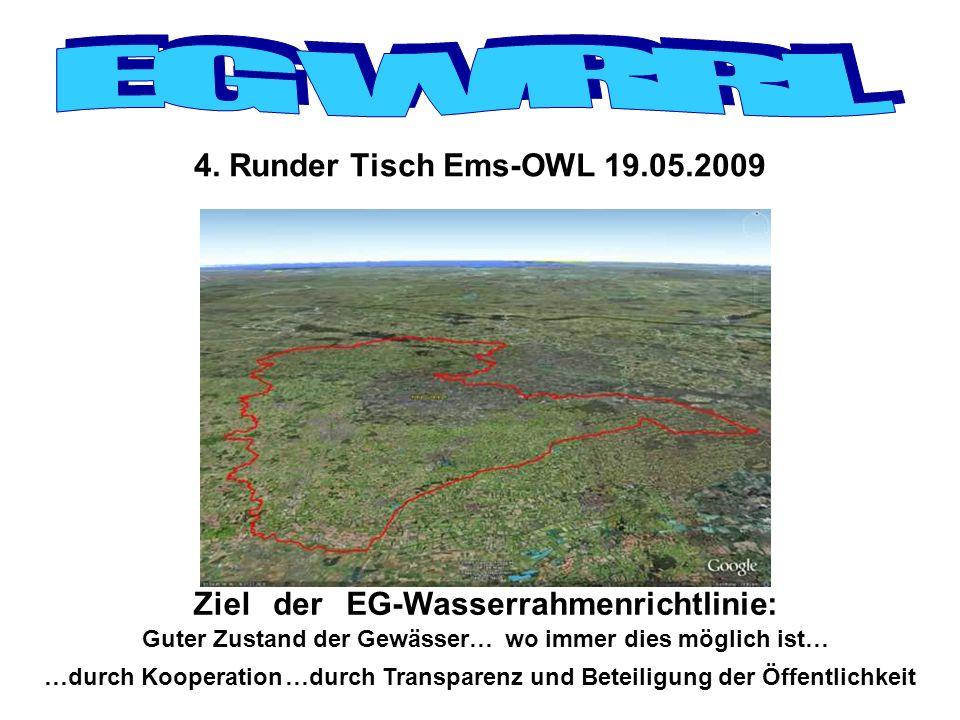4. Runder Tisch Ems-OWL 19.05.2009 Ziel Guter Zustand der Gewässer…wo immer dies möglich ist… …durch Kooperation derEG-Wasserrahmenrichtlinie: …durch