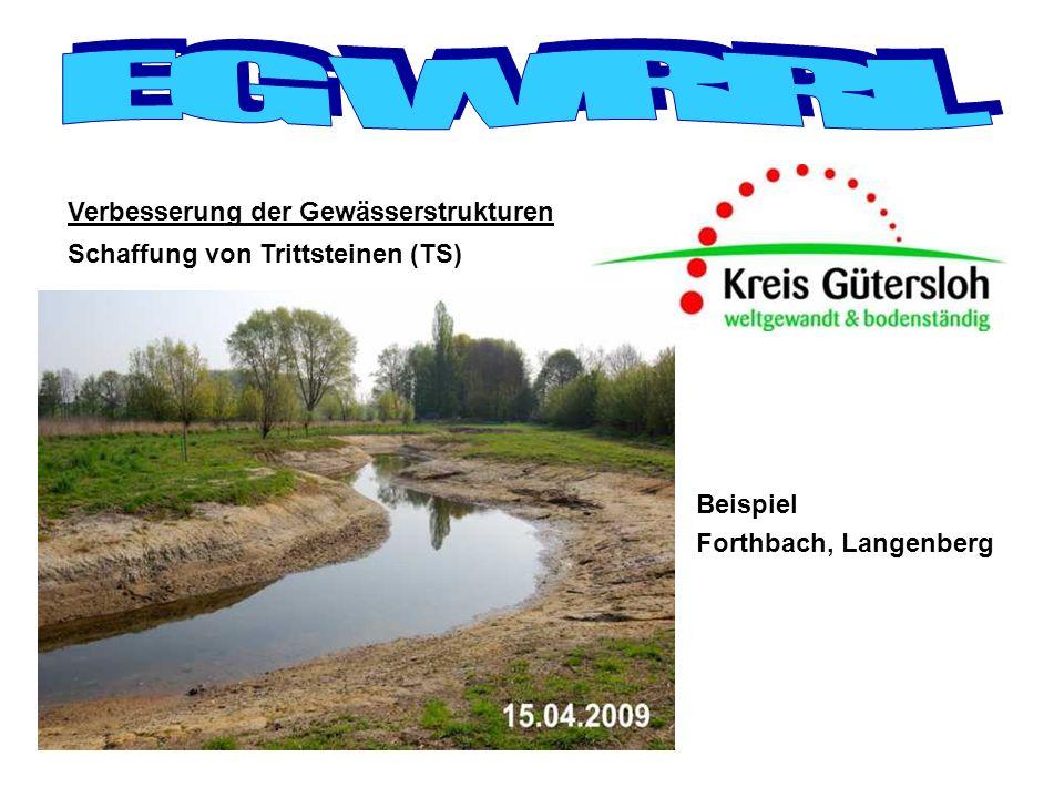 Herstellung der Durchgängigkeit Nach Datenlage des Landes befinden sich in den Gewässern des Kreises Gütersloh insgesamt 596 Querbauwerke (QBW)