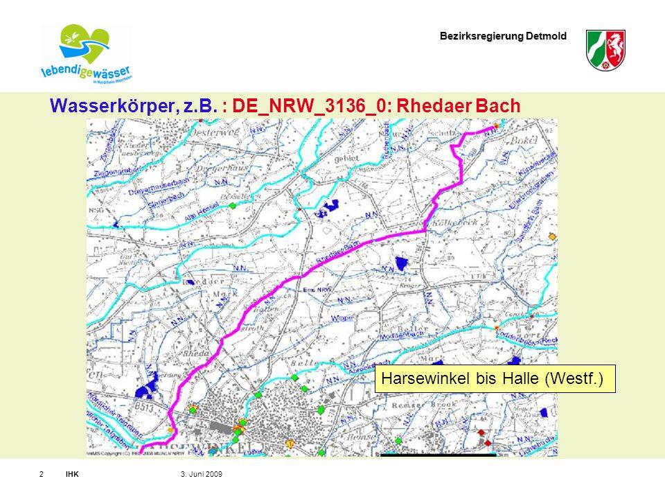 Bezirksregierung Detmold IHK23. Juni 2009 Wasserkörper, z.B.