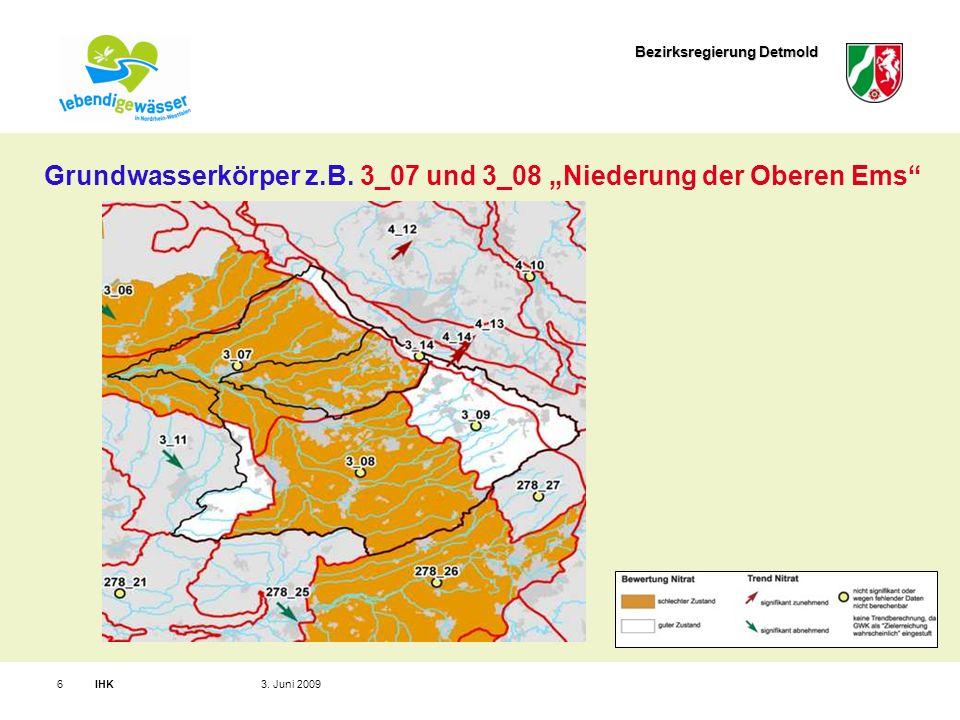 Bezirksregierung Detmold IHK63.Juni 2009 Grundwasserkörper z.B.