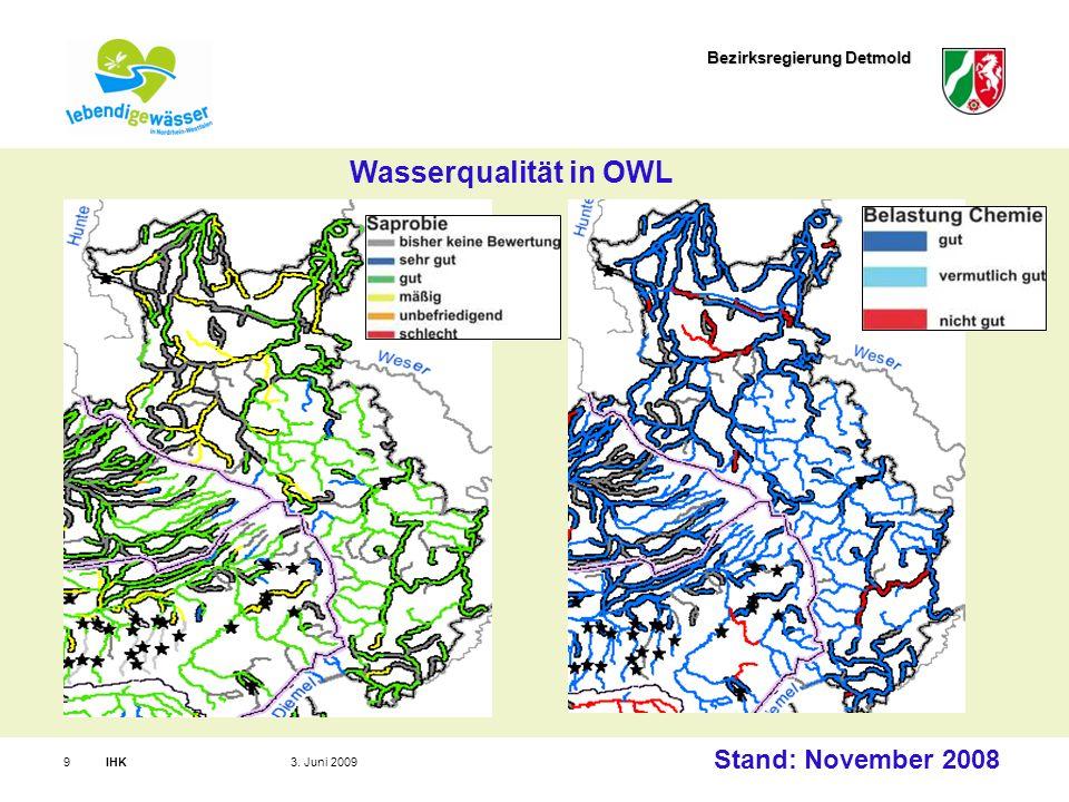 Bezirksregierung Detmold IHK93. Juni 2009 Wasserqualität in OWL Stand: November 2008