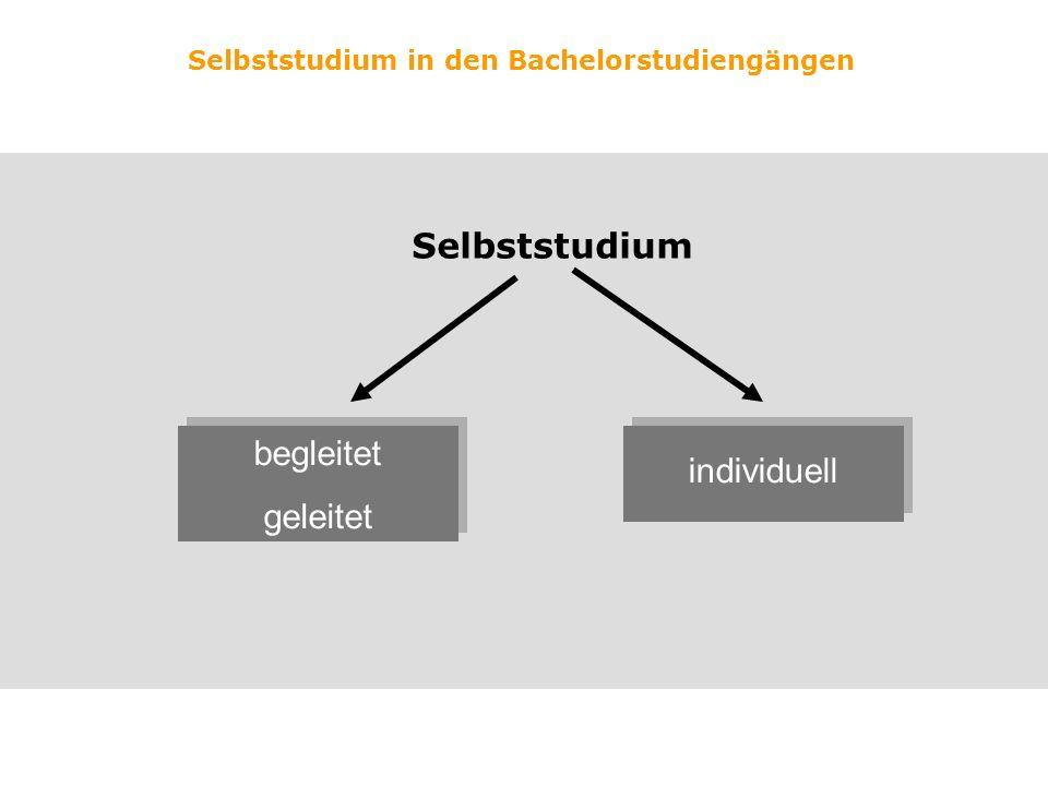 Selbststudium in den Bachelorstudiengängen Selbststudium begleitet geleitet begleitet geleitet individuell