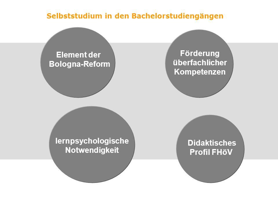 Selbststudium in den Bachelorstudiengängen Element der Bologna-Reform lernpsychologische Notwendigkeit Förderung überfachlicher Kompetenzen Didaktisches Profil FHöV