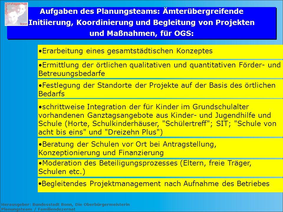 Herausgeber: Bundesstadt Bonn, Die Oberbürgermeisterin Planungsteam / Familiendezernat Aufgaben des Planungsteams: Ämterübergreifende Initiierung, Koo