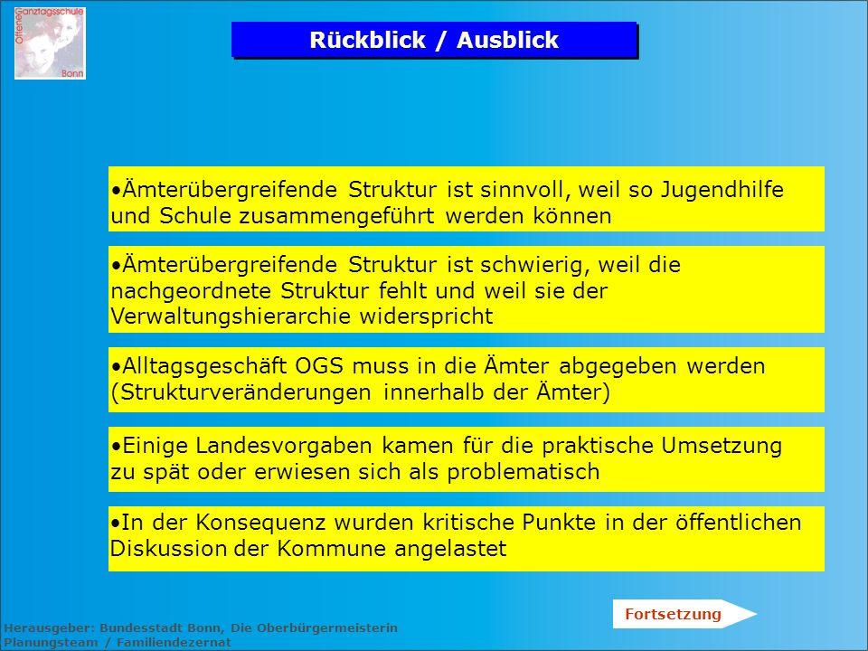 Herausgeber: Bundesstadt Bonn, Die Oberbürgermeisterin Planungsteam / Familiendezernat Rückblick / Ausblick Ämterübergreifende Struktur ist sinnvoll,