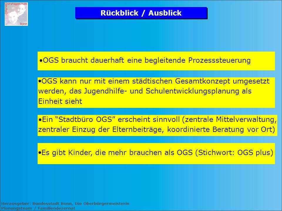 Herausgeber: Bundesstadt Bonn, Die Oberbürgermeisterin Planungsteam / Familiendezernat Rückblick / Ausblick Es gibt Kinder, die mehr brauchen als OGS