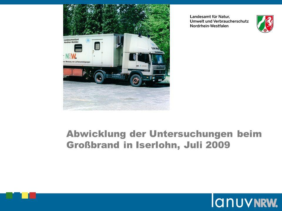 Die Brandrückstände wurden im LANUV auf Dioxine und Furane untersucht: Probe Brokkolifeld:2,5 ng/kg I-TE Probe Reiterhof:28 ng/kg I-TE Grenzwert für Spielplätze100 ng/kg I-TE Umweltministerium wurde informiert.