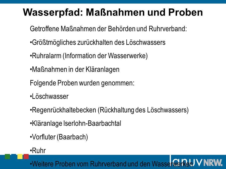 Getroffene Maßnahmen der Behörden und Ruhrverband: Größtmögliches zurückhalten des Löschwassers Ruhralarm (Information der Wasserwerke) Maßnahmen in d