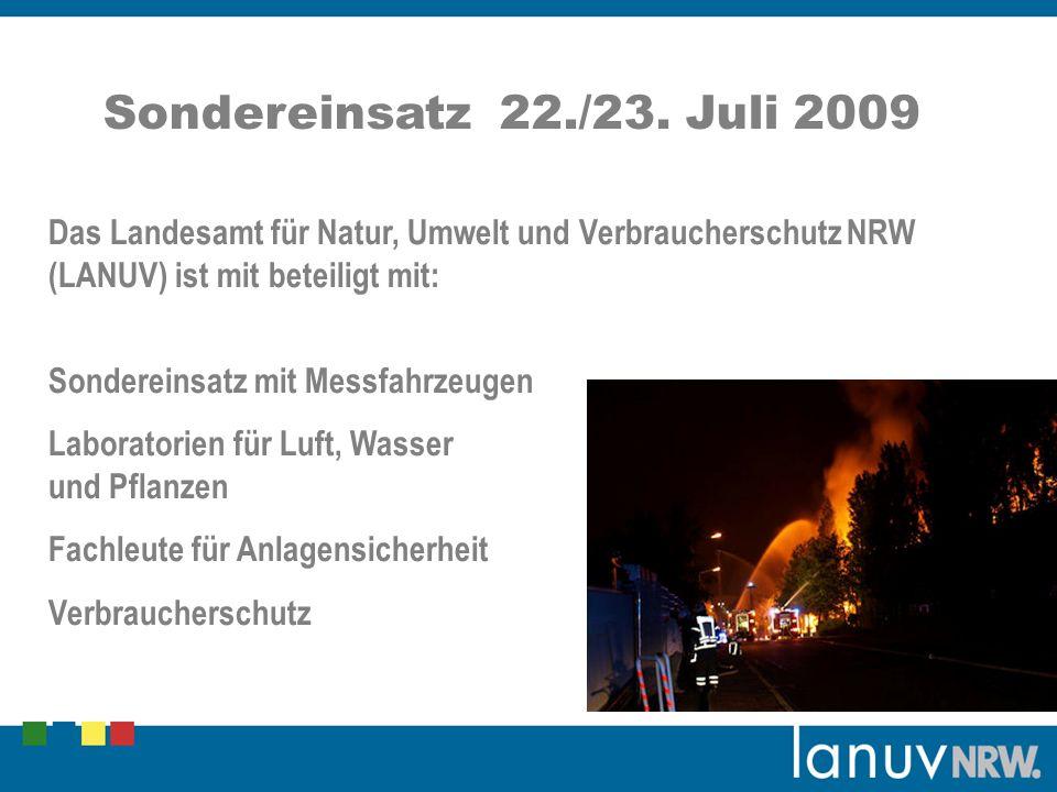 Sondereinsatz 22./23. Juli 2009 Das Landesamt für Natur, Umwelt und Verbraucherschutz NRW (LANUV) ist mit beteiligt mit: Sondereinsatz mit Messfahrzeu
