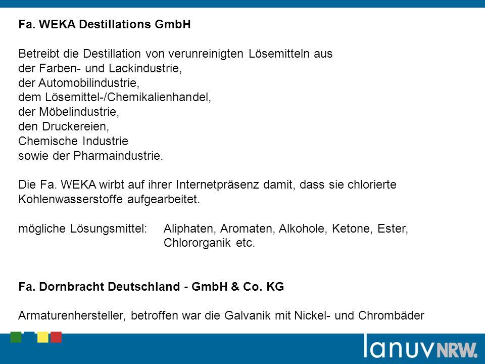Fa. WEKA Destillations GmbH Betreibt die Destillation von verunreinigten Lösemitteln aus der Farben- und Lackindustrie, der Automobilindustrie, dem Lö