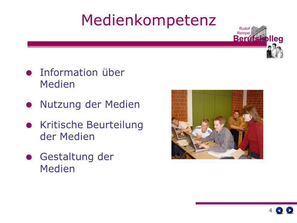 4 Medienkompetenz Information über Medien Nutzung der Medien Kritische Beurteilung der Medien Gestaltung der Medien