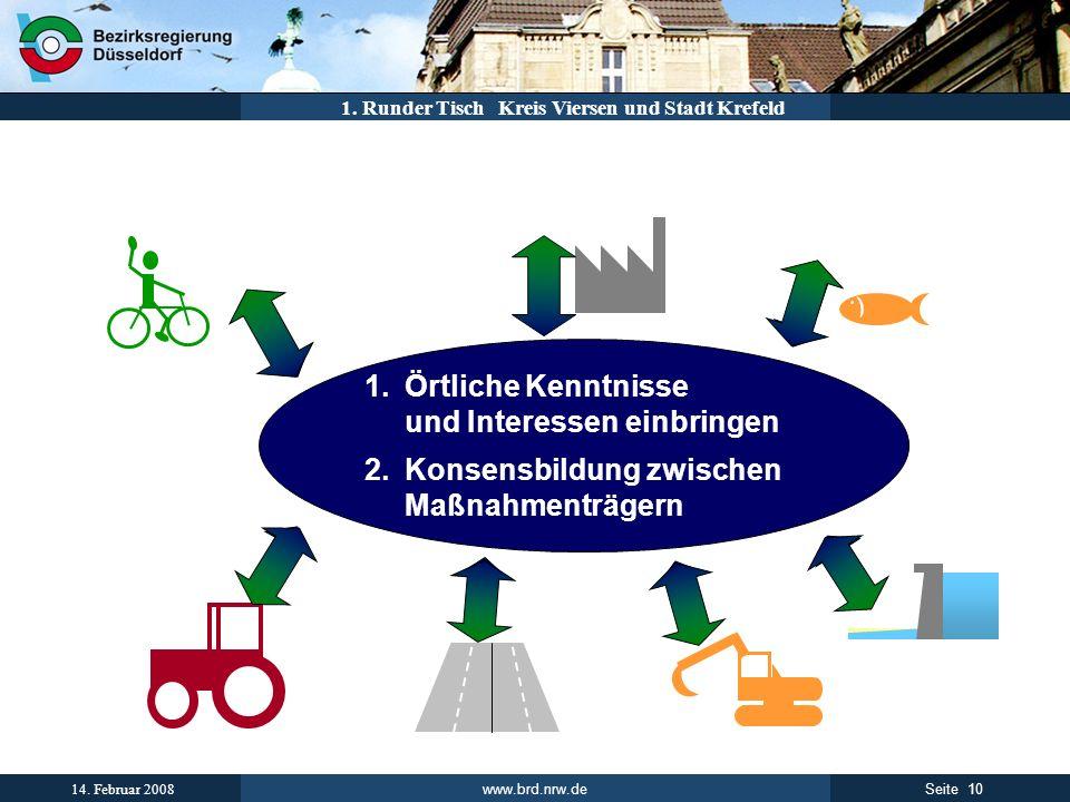 www.brd.nrw.de 10Seite 14. Februar 2008 1. Runder Tisch Kreis Viersen und Stadt Krefeld 1.Örtliche Kenntnisse und Interessen einbringen 2.Konsensbildu