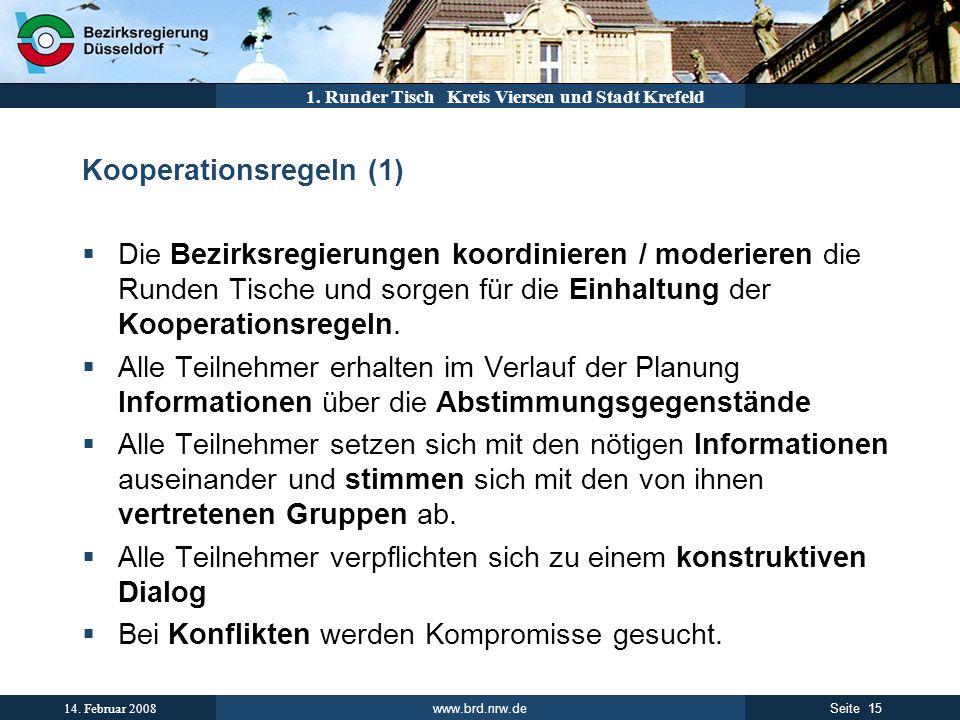 www.brd.nrw.de 15Seite 14. Februar 2008 1. Runder Tisch Kreis Viersen und Stadt Krefeld Kooperationsregeln (1) Die Bezirksregierungen koordinieren / m