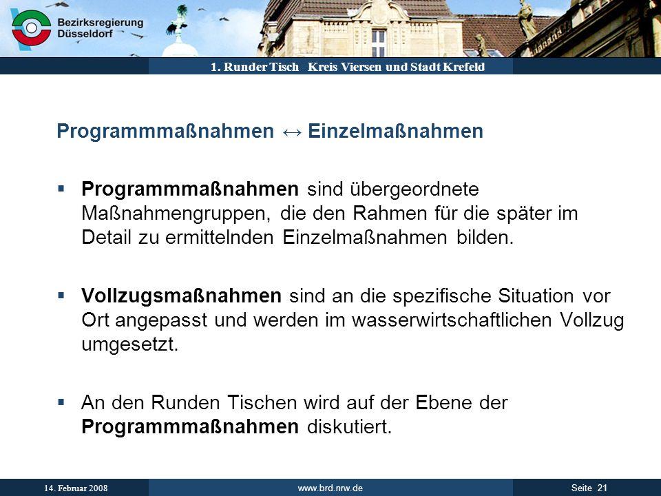 www.brd.nrw.de 21Seite 14. Februar 2008 1. Runder Tisch Kreis Viersen und Stadt Krefeld Programmmaßnahmen Einzelmaßnahmen Programmmaßnahmen sind überg